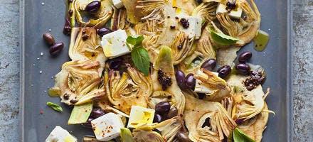 Artichauts, feta et vinaigrette de tapenade
