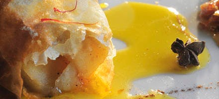 Craquelin de pommes, sirop de safran