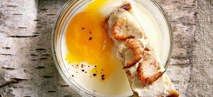L'œuf cassé, crevette grise, lait battu