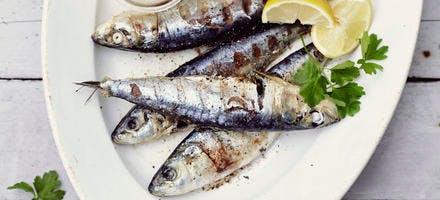 Sardines grillées, taboulé de roquette aux abricots secs