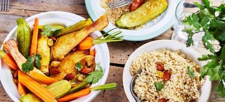 Tajine de poulet au miel, carottes et courgettes nouvelles