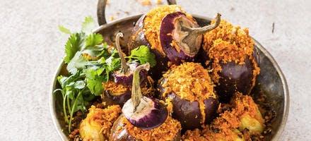 Petites aubergines farcies à la noix de coco