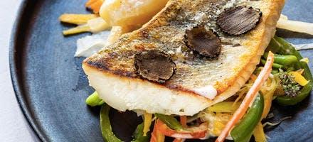 Filet de sandre, julienne de légumes, sauce à la truffe