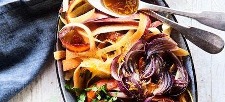 Salade aux légumes d'hiver & fromage, vinaigrette d'agrumes