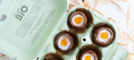 Oeufs de Pâques en chocolat fourrés à la noix de coco
