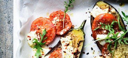 Aubergines rôties à la feta et tomates au four