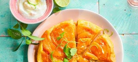 Tarte tatin abricot, melon et citron vert