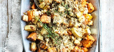 Crumble aux légumes d'automne et à la feta