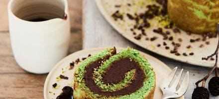 Bûche des bois chocolat-pistache