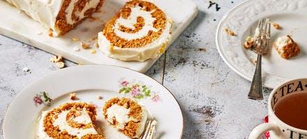 Gâteau roulé au potiron et glaçage au fromage frais