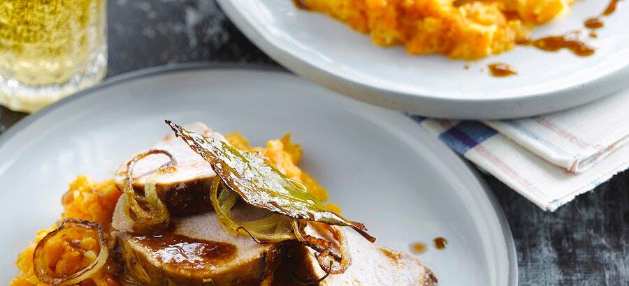 Rôti de porc à la bière, purée de carottes