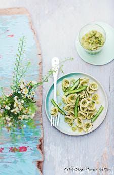 Pâtes au pesto d'asperges vertes et amandes