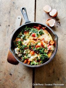 Tortilla au riz et aux légumes