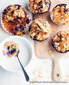 Muffin aux myrtilles, flocons d'avoine et amandes
