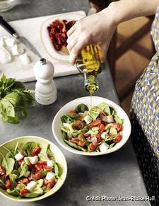 Salade de pâtes, tomates et mozzarella