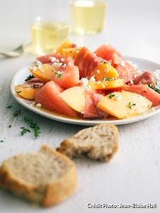 Salade de melon, pastèque et jambon