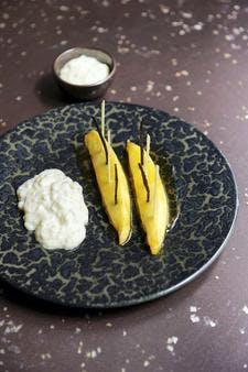 Mangues rôties au jus de passion-vanille, riz au lait