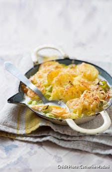 Gratin de haddock aux pommes de terre et poireaux