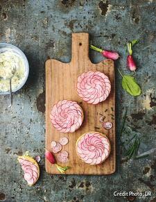 Tartelettes fleurs aux radis