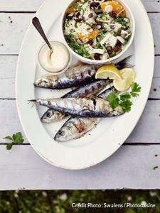 Sardines grillées, taboulé de roquette aux abricots