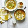 Golden soup carotte-chou-fleur au citron confit, pousses de coriandre