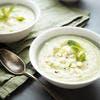 Soupe froide de concombre, feta et menthe